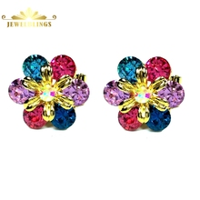 Chic Style Colored Crystal Petal Solitaire Flower Stud Earrings Gold Tone Pistil Dome AB Crystal Post Earrings for Women Outfit