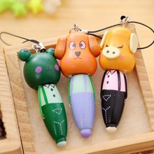 1pcs Cute Cartoon Animal Keychain Wood Ballpoint Pens Key Ring Children Kid Gift Prize Mobile Phone Pendant Pen Key Chain