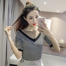 2017 new fashion spring summer women lace faux two piece V-neck short-sleeve thin sweater female knitted Striped pullover tops