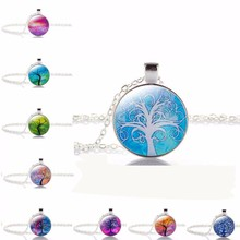 TOMTOSH 2017 New Fashion Charm Silver with Glass  Illusion Tree of Life Pattern Pendant Long Necklace for Women Gift