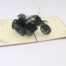 3D Laser Cut Handmade Three Wheeled Motorcycle Paper Invitation Greeting Cards PostCard Children Birthday Party Creative Gift
