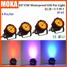4 Pcs/lot outdoor waterproof led par light 18pcs15w led par 64 can led dj lights DMX 5/9CH Stage Lighting Effect
