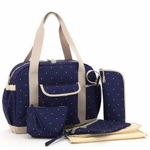Free Shipping! New 6PCS Dots Design Baby Changing Nappy Diaper Bag Set Cross Body Tote Mummy Bag-LX113