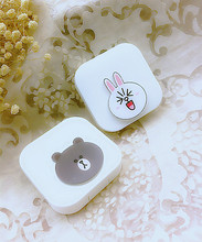 LIUSVENTINA DIY acrylic lovely Line Town Cony Brown contact lens case for eyes contact lenses box for glasses