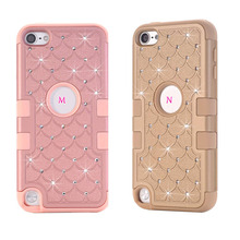 For Ipod Touch 6 6G 6th 5 5G 5th Bling Diamond Starry Hybrid Case Hard Plastic Silicone Shockproof Rhinestone Armor Skin 80PCS