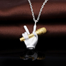 Free Shipping Short Paragraph S925 silver Gilded Music Note Microphone Pendant Necklace Music Pendant Necklace