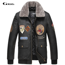 Gours Fall and Winter Men's Genuine Leather Jacket Male Goatskin Motorcycle Pilot Leather Jacket and Coats 2016 New Flight Suit