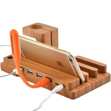 Bamboo Wooden 4 in 1 For iPhone iPad iPod Apple Watch 4 USB Port Micro HUB Charging Stand Station Dock Platform Cradle Holder