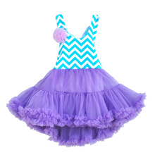 Kids Baby Girls Toddler Princess Party Tutu Dress Chevron Flower Dress With Purple Lace Swing Kids Cheap Price Clothing CT007