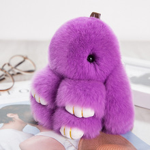 Fancy&Fantasy 18CM Fluffy Bunny Keychain Rabbit Key Chain Fur Woman Handbag Bag Keyring Pom Pom Car Pendant Key Ring Holder