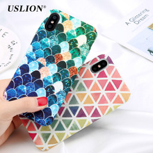 USLION Retro Flower Leaf Phone Case For iPhone X Fish Scales Print Cover Slim Hard PC Full Protect Cases Coque For iPhone 10(China)