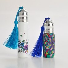 4Pieces/Lot 10ML 6ML Portable Clorful Glass Perfume Bottle With Roll Empty Essential Oils Case For Travel