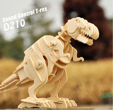 DIY 3D Wooden Puzzle Electronic Toys Walking T-Rex Kids Christmas gifts(China)
