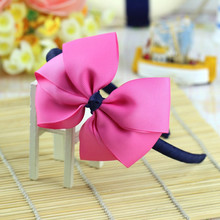 korean boutique big large hot pink blue children baby girls grosgrain ribbon hair clasp bows satin headband hairband accessories