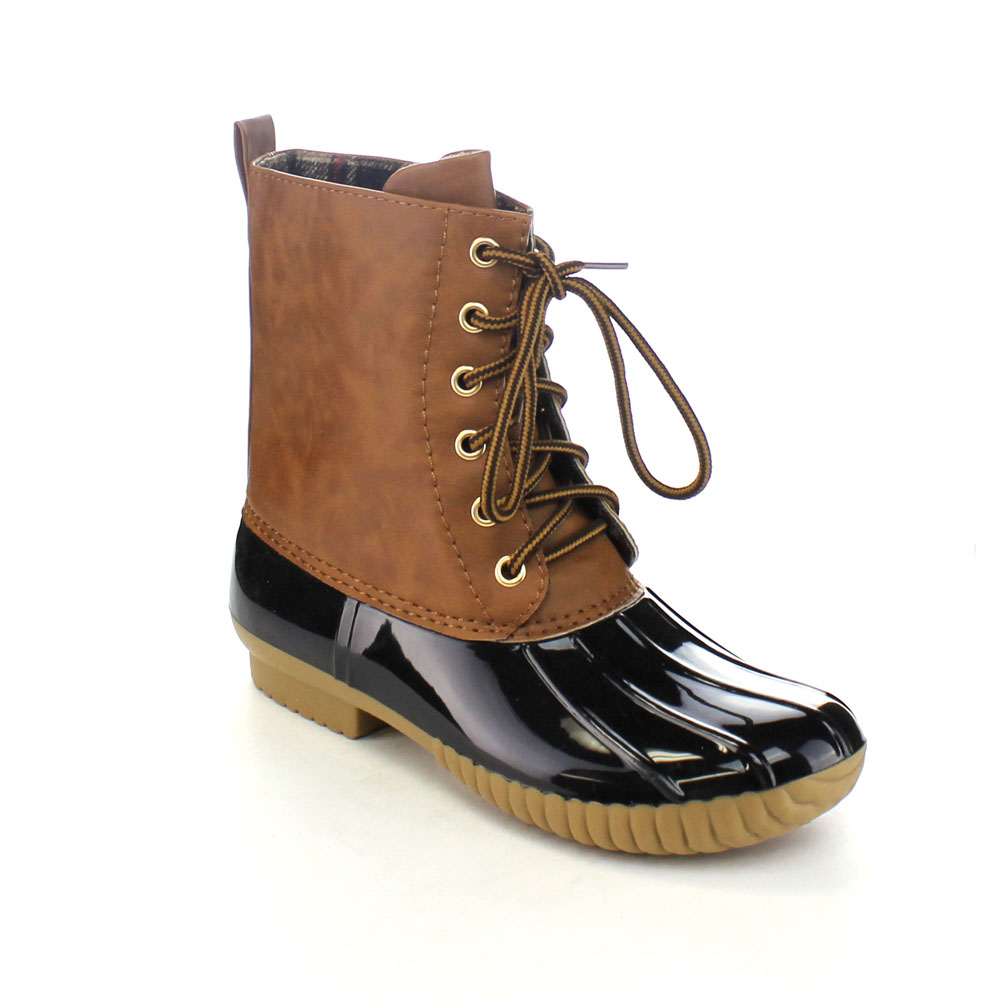 AXNY DYLAN Womens Lace Up Two Tone Calf Rain Duck Boots Half Size Small<br>