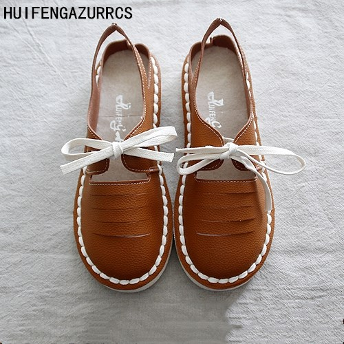 HUIFENGAZURRCS-Genuine Leather Sandals,pure handmade white shoes ,the retro art mori girl Flats shoes,Comfortable shoes,3 colors<br>