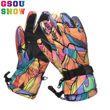 Gsou Snow Ski Gloves Women Waterproof Winter Snow Snowboard Bright Color Motorcycle Riding Female Skiing Snowboarding Gloves(China)