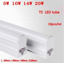 10pcs/Lot Led Tube T5 300mm 5W 600mm 9W 900mm 14W 1200mm 20W AC85-265V Led Fluorescent Lamp Free Shipping
