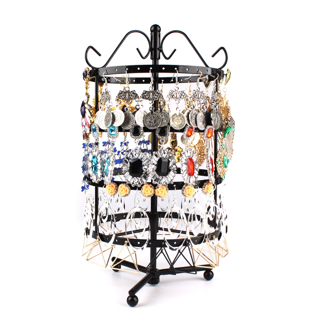 Double Tier Metal Rotating Jewelry Stand Necklace Display Holes Holder Rack