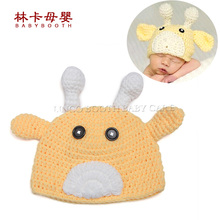 Cow Pattern Toddler Baby Crochet Hat Newborn Photography Props Handmade Soft Knit Newborn Hat(China)