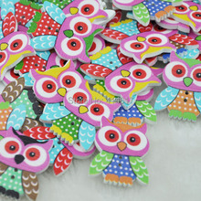 100PCS Mix Color Baby Owl Birds Carton Buttons Baby Sewing Craft Lots 30MM WB89