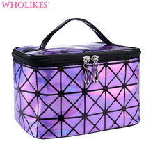 2016 New Fashion Brand of Women's Purple PU Leather Cosmetic Bags Travel Organizer Necessarie Cosmetic Cosmetic Bag DLL-165