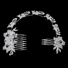 New Design CZ Rhinestone Princess Wedding Tiara Austrian Crystal Butterfly Flower Bridal Long Hair Combs Party Hair Accessories