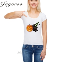 Babaseal Halloween Black Cat Witch With Pumpkin Band Tee Exo T-shirt Short Sleeve Wonder Woman Funny Tshirt Vegan Top Women(China)