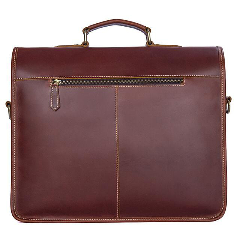 ANAPH Original Business Men's Full Grain Leather Briefcases Luxury Messenger Bags High Quality Totes 15 Inch Laptop Bag Wine