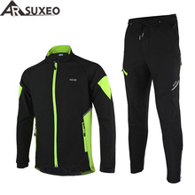 ARSUXEO Thermal Cycling Jacket Winter Warm Up Bicycle Sets Clothing Windproof Waterproof Soft shell Coat MTB Bike Pant 15-Q