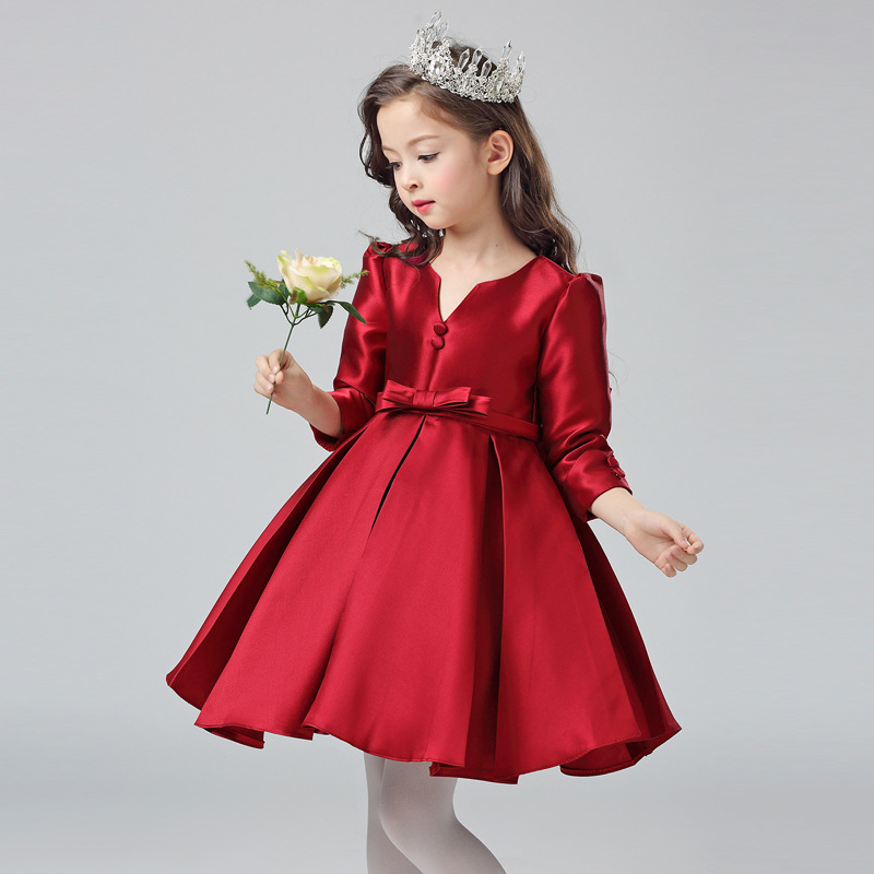 Solid Red Color Princess Toddler Girls Ball Gown Cotton Bowknot Decor Fashion Elegant Long Sleeve V-neck Show Stage Formal Dress<br>