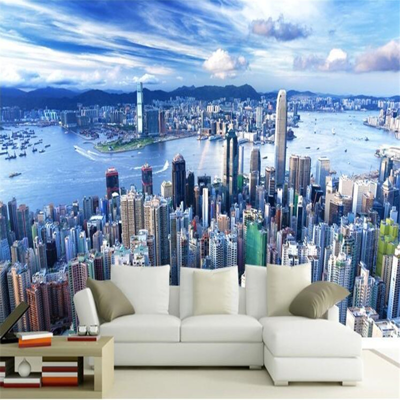 Custom wallpapers Manhattan 3d Pape de Parede modern city living room TV background painting Architecture Panoramic<br><br>Aliexpress