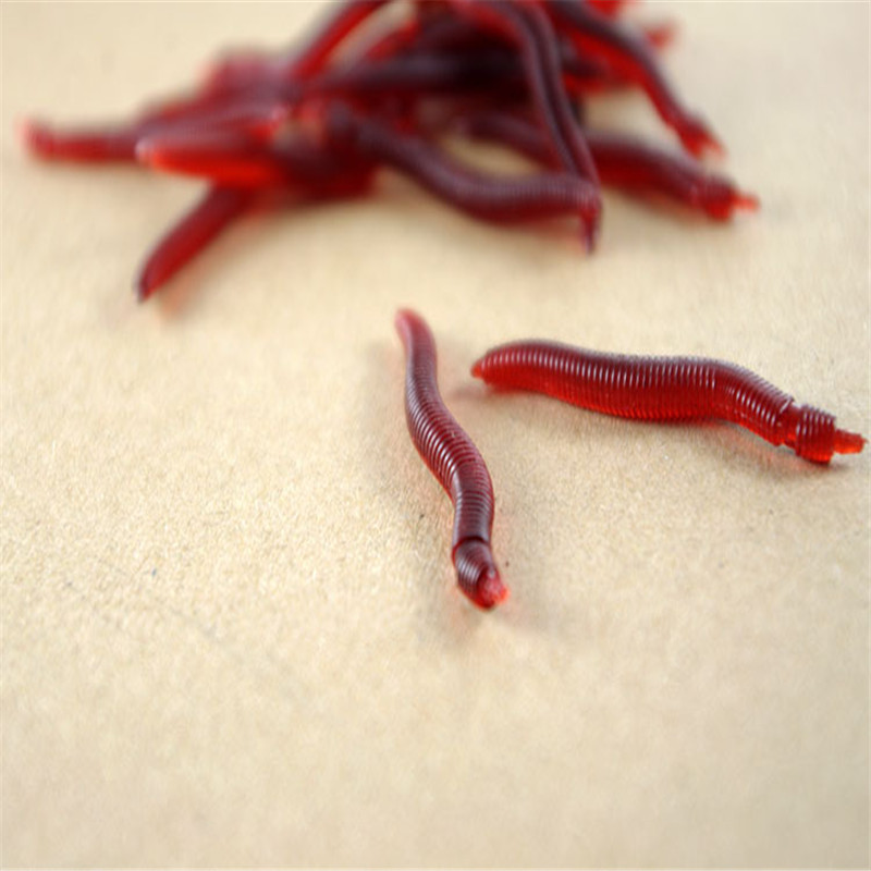 100Pcslot Red Earthworm silicone bait Worms Artificial Fishing Lure Tackle 3.5cm Soft Baits Lifelike Fishy Smell Lures