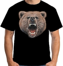Mens Bear Bite T Shirt Big Animal Head Face Evil Grizzly Bad A09073 men's top tees(China)