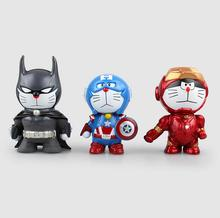 Anime The Avengers2 Doraemon Cos Iron Man Flash Green Lantern PVC Action Figure Toys Dolls 8cm P593