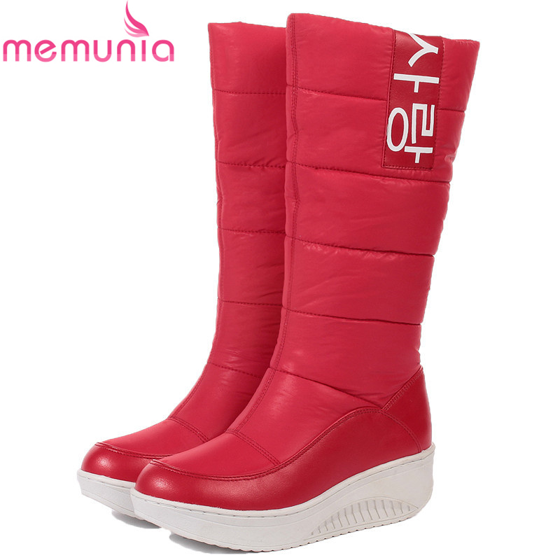MEMUNIA fashion new arrive women boots winter Keep warm waterproof snow boots platform black red mid calf boots<br>