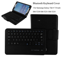 For Samsung Galaxy Tab 4 7.0inch T230 T231 T235 Removable Wireless Bluetooth Keyboard Portfolio Folio PU Leather Case Cover+Pen