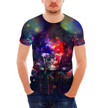 FORUDESIGNS Galaxy Skull T-shirt Men Summer t shirts Male Crossfit Bodybuilding Clothing Hip Hop Tie Dye Tshirt Homme Crew Neck
