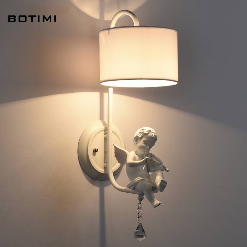 BOTIMI Elegant crystal fabric lampshade wall sconce modern bedroom light American wall lighting for living room balcony stairway<br><br>Aliexpress