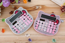 Lovely Hello Kitty Calculator Pink Twinkling 10+2 Digital Solar Pink Cute Luxury Rhinestone Crystal Diamond Calculator for Girls(China)