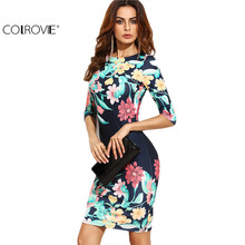 COLROVIE Women Navy Blue Flower Print Party Dresses Bodycon Fall Sheath Elegant Ladies Autumn Half Sleeve Midi Dress