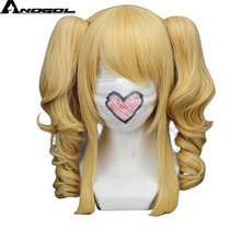 Anogol Harajuku Hand Tied Natural Long Curly Blonde Double Clip Ponytails Synthetic Cosplay Wig For Party(China)