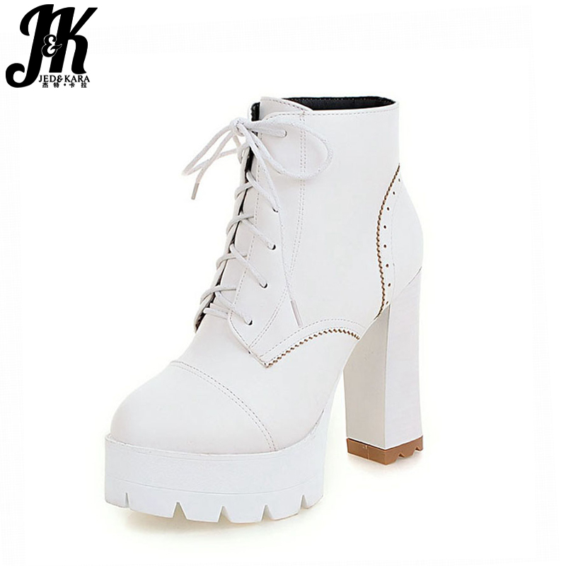 Large Size 34-43  Style Lace Up Autumn Winter Boots Women Shoes Woman Fashion High Heels Platform Ankle Boots Women 2018<br>