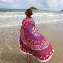 2017 Microfiber Summer Sand Swimming Beach Towel Round Printed Bohemia Bath Towels Plage Sunbath Beach Towel with Tassels 145cm