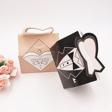 50pcs/lot=25Pair Beautiful White Bride Dress And Black Groom Suit Couple Wedding Candy Box Special Wedding Favor Candy Gift Box
