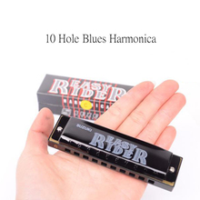 Blues Diatonic Harmonica 10 Hole C Key Black&Red Mouth Organ Harp Wind Musical Instrument Toy Kids Adult Gifts