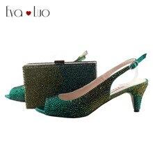 BS739 Custom Handmade Green Crystal African Shoes With Matching Bag Set SlingBacks  Dress Pumps Big Size Low Heel Women Shoes c4a93589de44