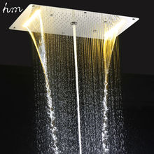 hm 9 Function Led Shower Head Light Rain Shower 700x380mm Large Waterfall Multi Function Led Ceiling Mount Overhead Shower Heads(China)