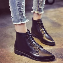 2016 Winter women leather ankle boots women pointed toe lace up motocycle boots flats heeled boots female casual shoes Autumn