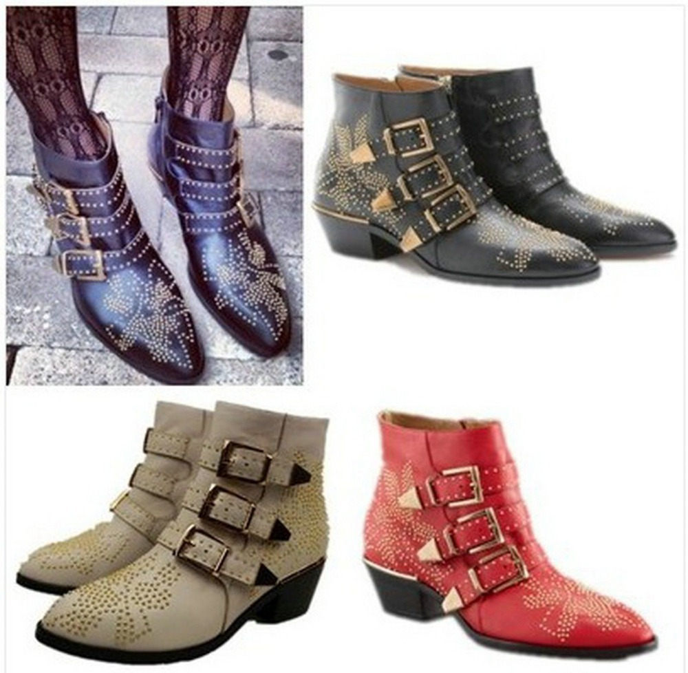 Womens Punk Rocker Studded Buckle Low Heel Cowboy Real Leather Ankle Boots Shoes
